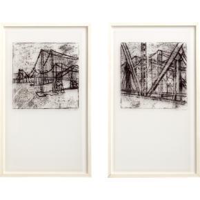 bridge architecture and landscape prints set of two