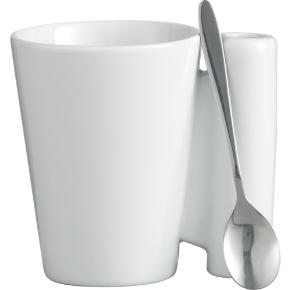 spoon coffee mug white with stainless steel spoon