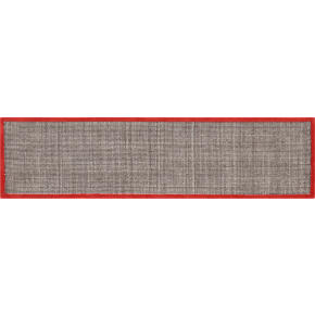 tweed dark brown linen with burnt orange border runner