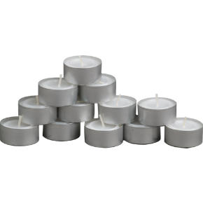 aluminum-cupped tealight candles set of 12