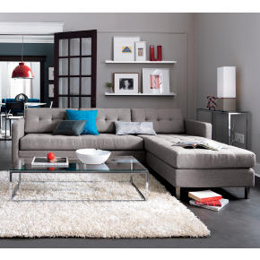 dual pebble tufted sectional