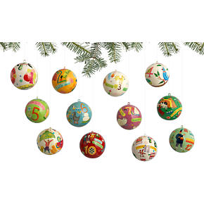 12 Days of Christmas Ornaments Set of 12