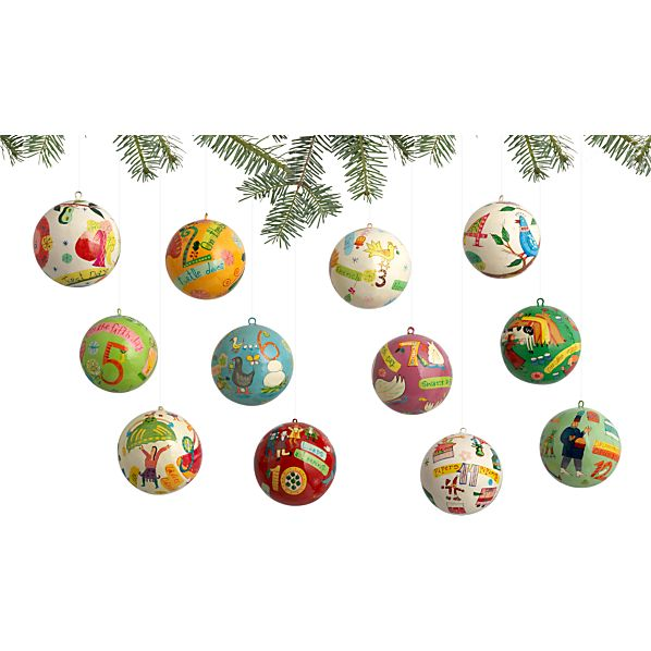 Set of 12 12 Days of Christmas Ornaments