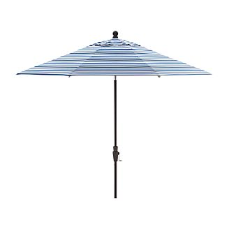9' Round Blue Striped Umbrella with Tilt Black Frame