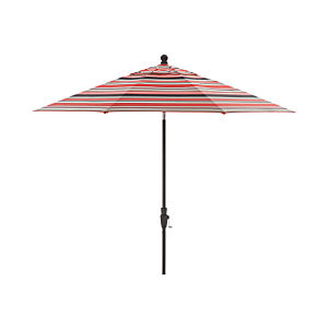 9' Round Sunbrella ® Rose Multi Striped Umbrella with Tilt Black Frame