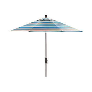 9' Round Sunbrella ® Seaglass Multi Striped Umbrella with Tilt Black Frame