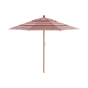 9' Round Sunbrella ® Rose Multi Striped Umbrella with FSC Eucalyptus Frame