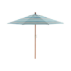 9' Round Sunbrella ® Seaglass Multi Striped Umbrella with FSC Eucalyptus Frame