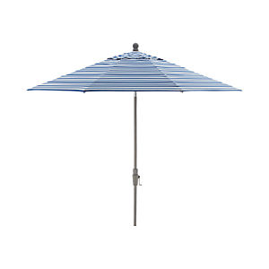 9' Round Blue Striped Umbrella with Tilt Silver Frame