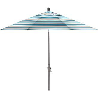 9' Round Sunbrella ® Seaglass Multi Striped Umbrella with Tilt Silver Frame