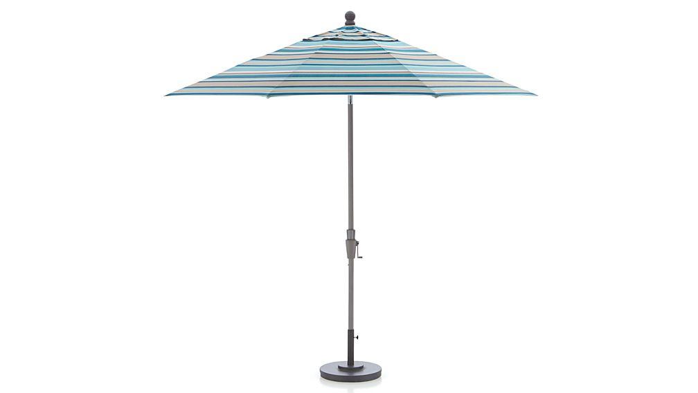 9 Round Sunbrella 174 Seaglass Multi Striped Patio Umbrella