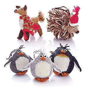 Fiber Hut Ornaments Set of Three