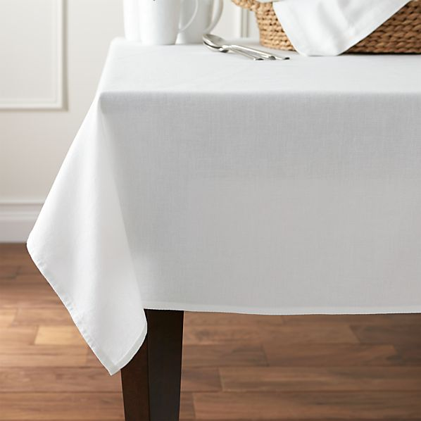 "Abode White 60""x90"" Tablecloth"