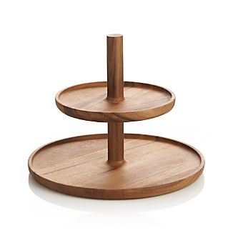 2-Piece Acacia Stacking Platter Set