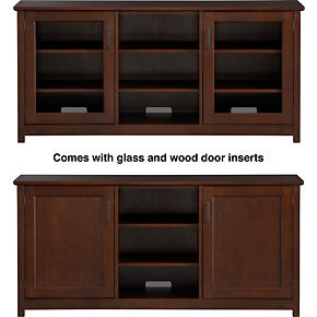 Ainsworth Cognac 64 Media Console with Wood/Glass Doors