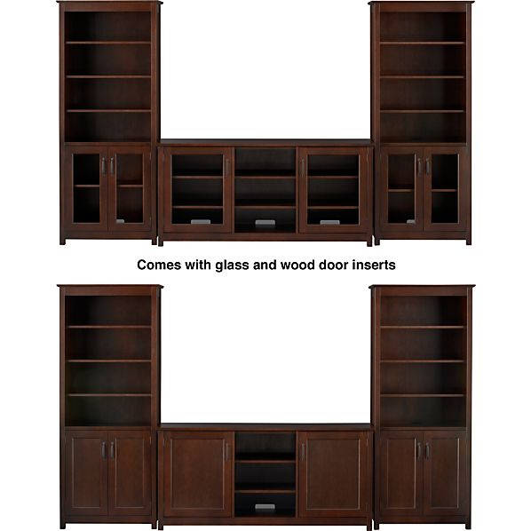 "Ainsworth Cognac 64"" Media Console with Wood/Glass Doors and 2 Towers"