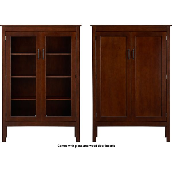 "Ainsworth Cognac 40"" 2-Door Cabinet with Wood/Glass Doors"