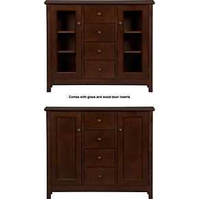 Ainsworth Cognac Two-Door Entryway Cabinet with Wood/Glass Door
