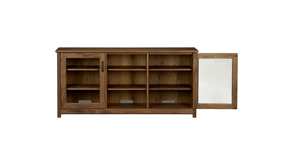 "Ainsworth Walnut 64"" Media Console with Glass/Wood Doors"