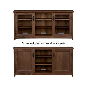 Ainsworth Walnut 64 Media Console with Wood/Glass Doors