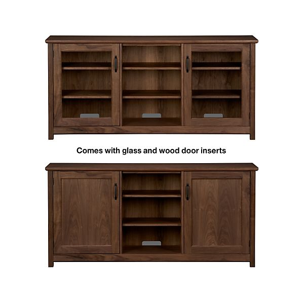 "Ainsworth Walnut 64"" Media Console with Wood/Glass Doors"