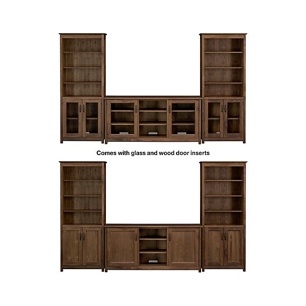 "Ainsworth Walnut 64"" Media Center with Wood/Glass Doors and 2 Towers"
