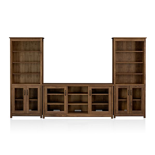 "Ainsworth Walnut 64"" Media Center with Glass Doors"