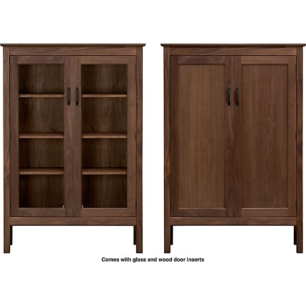 "Ainsworth Walnut 40"" 2-Door Cabinet with Wood/Glass Doors"