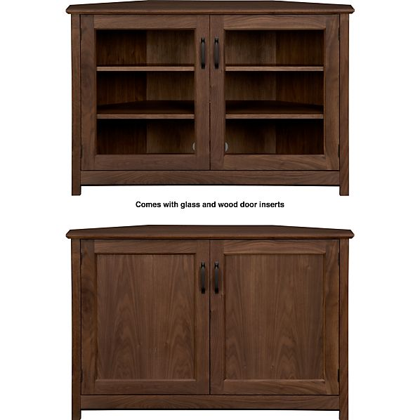 "Ainsworth Walnut 46"" Corner Media Stand with Wood/Glass Doors"