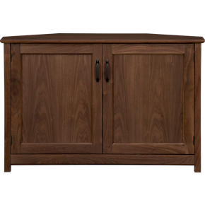 Ainsworth Walnut 46 Corner Media Console with Wood Doors