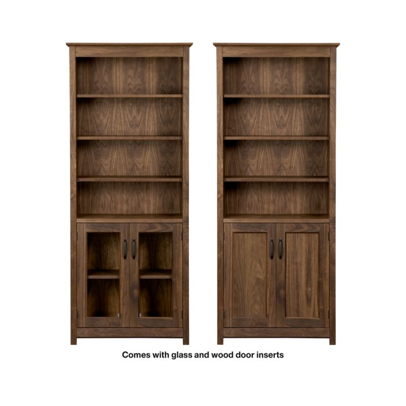 Ainsworth Walnut 30 Quot Media Tower With Glass Wood Doors In