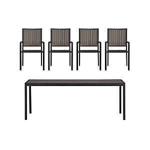 Alfresco Grey 5-Piece Rectangular Dining Set
