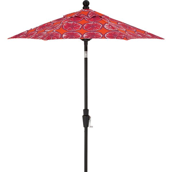 6' Round Marimekko Appelsiini Caliente Umbrella with Black Frame