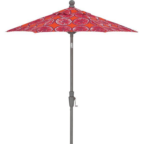 6' Round Marimekko ® Appelsiini Caliente Umbrella with Silver Frame