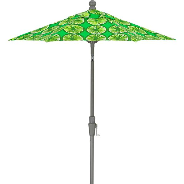 6' Round Marimekko ® Appelsiini Green Umbrella with Silver Frame