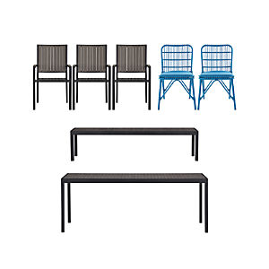 Alfresco Grey 7-Piece Dining Set with Kruger Chairs