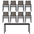 Alfresco Grey 9-Piece Rectangular Dining Set (Rectangular Dining Table, 8 Dining Chairs).