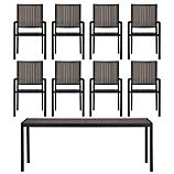 Alfresco Grey 9-Piece Rectangular Dining Set