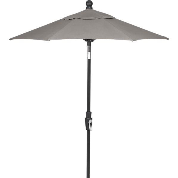 6' Round Sunbrella® Graphite Umbrella with Black Frame