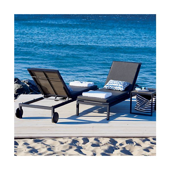 Alfresco Grey Chaise Lounge with Sunbrella ® Charcoal Cushion