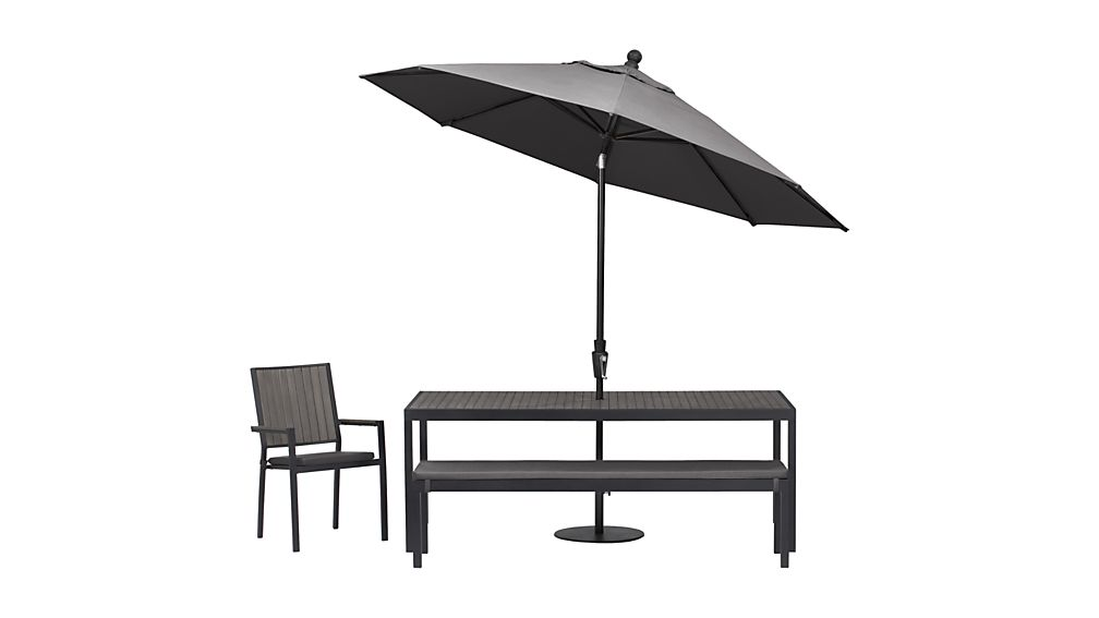 Alfresco Grey Dining Bench with Sunbrella ® Cushion