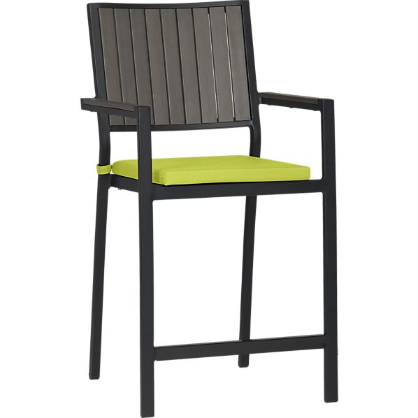 Alfresco Grey Barstool with Sunbrella ® Apple Cushion