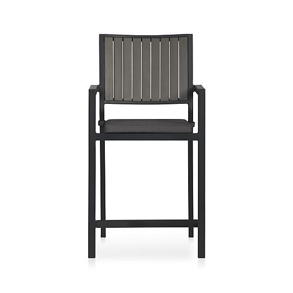 "Alfresco Grey 24"" Counter Stool with Sunbrella® Charcoal Cushion"