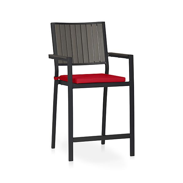 "Alfresco Grey 24"" Counter Stool with Sunbrella® Ribbon Red Cushion"