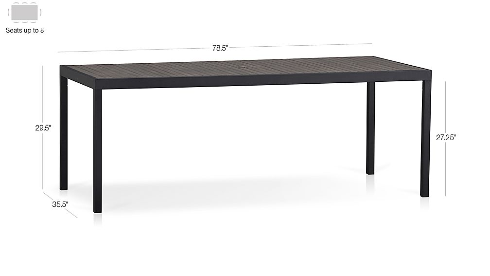 Alfresco Grey Rectangular Dining Table Dimensions