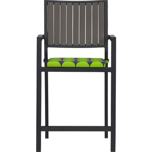 Alfresco Grey Barstool with Marimekko Pienet Kivet Cushion