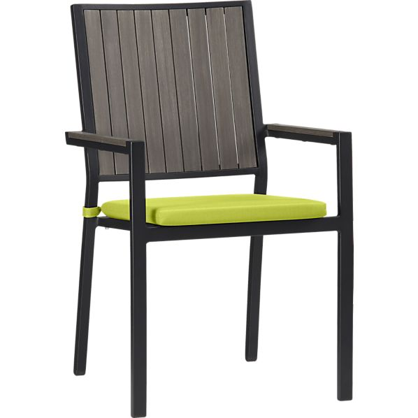 Alfresco Grey Dining Chair with Sunbrella® Apple Cushion