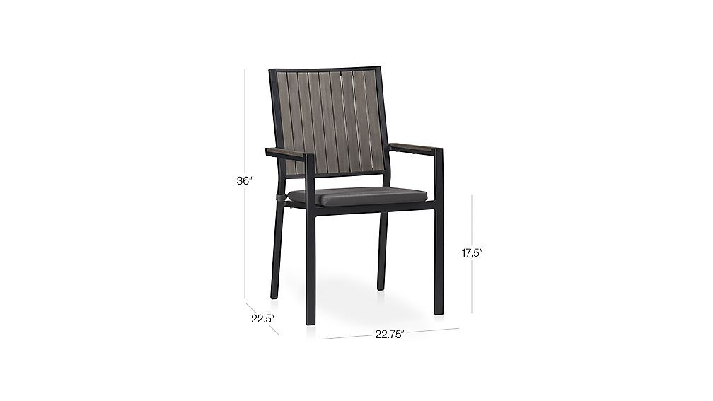 Alfresco Grey Dining Chair with Sunbrella ® Cushion Dimensions