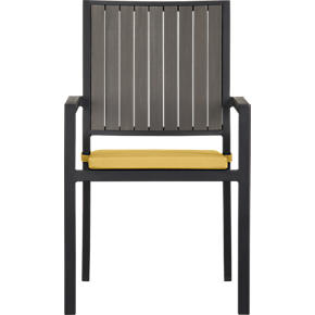 Alfresco Grey Dining Chair with Sunbrella Daffodil Cushion