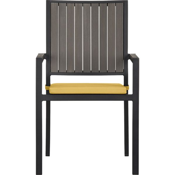 Alfresco Grey Dining Chair with Sunbrella® Daffodil Cushion